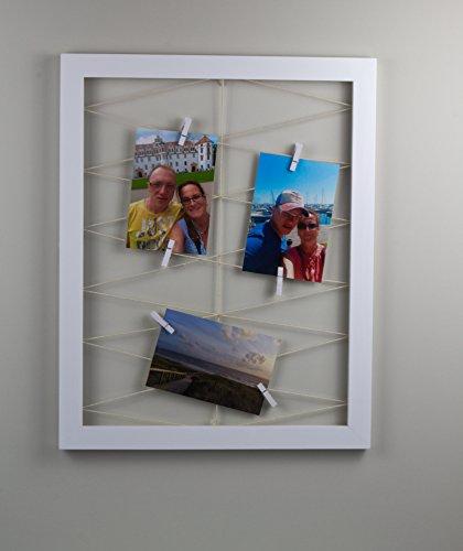3 Stck Nemesis Fotorahmen 40x50 cm aussen Massivholz Farbe Weiss Collagen Bilderrahmen mit Mini Wäscheklammern zum Befestigen von Ansichtskarten, Fotos und Bildern