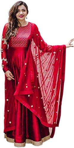 ClassyFashion Women's Ethnic Wear Taffeta Silk Party/Regular Wear Dress Material/Salwar Suits/Salwar Suits sets(FreeSize_RedColor)