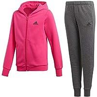 Adidas niña con Capucha Cotton Chándal, otoño/Invierno, Niñas, Color Dark Grey Heather/Real Magenta/Grey Five, tamaño 140