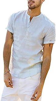 Armbyn Heren Henley Shirt Opa Kraag Linnen Katoen Korte Mouwen Vaders Dagcadeaus voor Papa Gift S-XXL