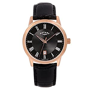 Rotary Men's Quartz Watch with Black Dial Analogue Display and Black Leather Strap GS00326/04