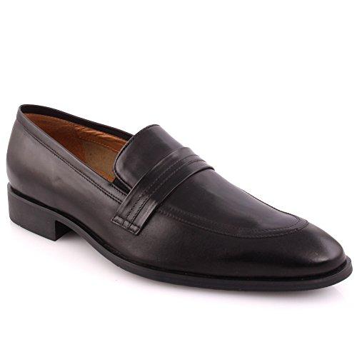Unze Männer Leder Beleg auf 'Hender' Party Prom Büro Hochzeit Convocation Formale Kleid Loafer Schuhe Größe 6-11 - 128 Schwarz