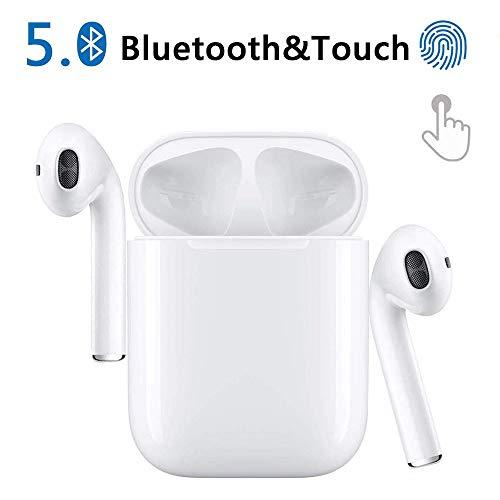 Cuffie senza fili bluetooth sport mini 5.0 auricolari riproduzione stereo 24h cuffie hd con microfono accoppiamento automatico delle chiamate binaurali per qualsiasi dispositivo bluetooth-bianco