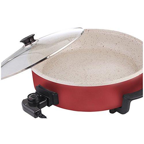 Pizzapfanne, Grillpfanne, Partypfanne marmorierte Keramikbeschichtung rot 40 cm Durchmesser 7 cm hoch