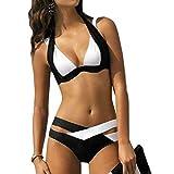 Internet Damen Elegant Weiß und Schwarz Bikini-Sets Neckholder Push-up Bademode Zweiteilig Strandmode (Schwarz, M)