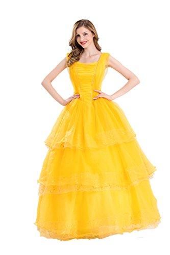 COSWE Frauen Belle Phantasie Prinzessin kleid Erwachsene Damen Lang Cosplay Kostüm Halloween (EU 40)