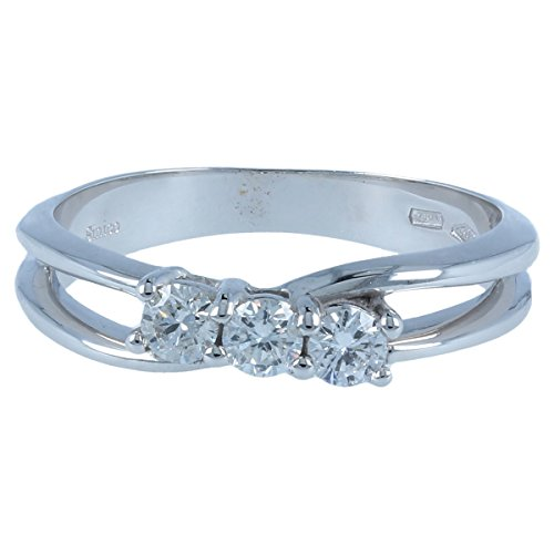 Bague trilogy en or blanc avec diamants 0.34c - Gioiello Italiano