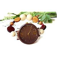 Orologio da polso di legno marrone donna Regalo compleanno Natale amica Bracciale elastico con perle