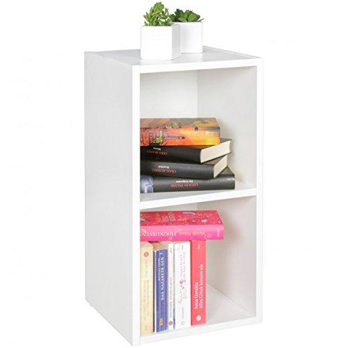 FineBuy Standregal Karin Weiß 30 x 60 x 30 cm für Bücher 2 Fächer MDF-Holz | Design...