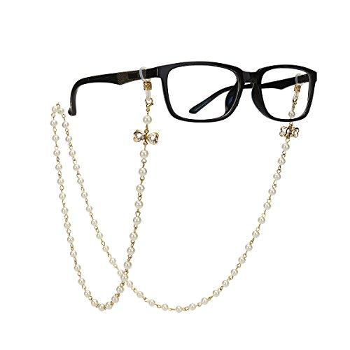 Tinksky Brillenkette mit Bowknot Imitation Perlen Gläser Strap Cords Sunglass Holder Lanyard Halskette Brillen Halter Hals Cord Strap