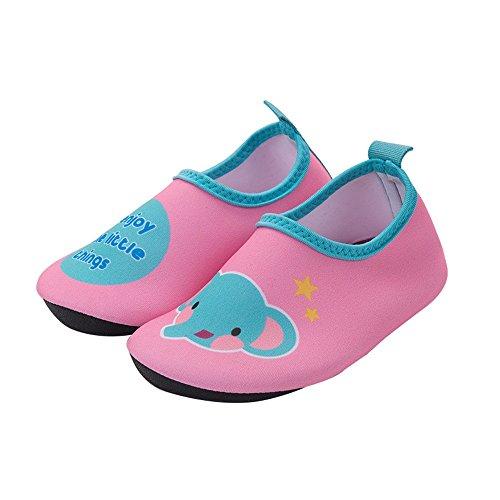 NAN Kind-Mädchen-Jungen-Schwimmen-Wasser-Schuhe barfuß Wasser-Socken-Strand-Pool-surfende Yoga-Schuhe (Farbe : Pink Elephant, größe : 19)