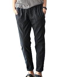 Juleya Pantalones Verano Mujer Pantalones Lino Suaves Cómodos Pantalones Playa Pantalones Sueltos con Cordón Color Sólido 3/4 Longitud