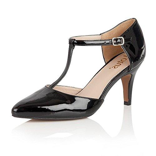 Lotus - Camomile, Scarpe con cinturino Donna Black (Black Shiny)