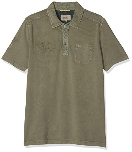 camel active Herren Polo 1/2 Poloshirt, Grün (Olive Core 73), Large -