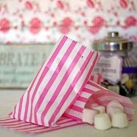 PPD & bianco, confezione da 100, colore: rosa caramella/Sweet Bags 5 x 7