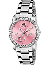 Edore Elegant Star Studded Diamond Pink Dial Stainless Steel Band Water Resistant Watch for Women/Girls