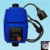 GV Pumpentechnik Pumpensteuerung PC-15A mit einstellbarem Einschaltdruck, Trockenlaufschutz, integriertem Rückschlagventil und Manometer für Pumpen bis 10 bar und 1,1kW, verkabelt mit Stecker und Kupplung, Druckschalter, Durchflusswächter geeignet für Tiefbrunnenpumpen, Tauchpumpen, Kreiselpumpen mit einem Druck von mindestens 3 bar
