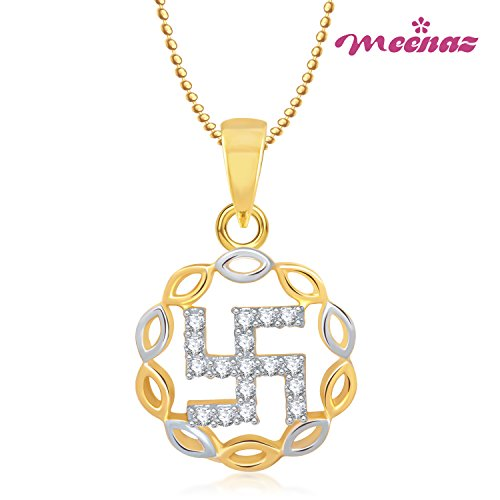 Meenaz Swastik Religious God Pendant Gold Plated Cz In American Diamond With Chain For Man & Women,Girls GP187