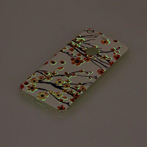 Coque Google Pixel Luminous,Transparent Coque pour Google Pixel,Ekakashop Ultra Slim-fit Noctilucent avec Motif Cerisier Coque de Protection en Soft TPU Silicone Crystal Clair Souple Gel Housse Protec Prune Fleur Luminous