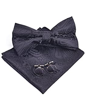 Massi Morino Conjunto de pajarita Paisley - con pajarita, pañuelo, gemelos incl. caja de regalo, pajarita de hombre...