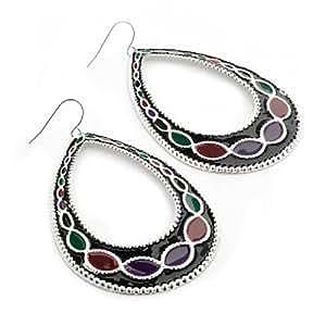 Large Oval Black Enamel Hoop Earrings (Silver Tone Metal) - 7.7cm Drop