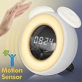 Despertador Alarma con Luz LED, Reloj Digital Wake Up Light Despertador Infantil con Función de Snooze, Control Táctil, Reconocimiento Corporal, Brillo Ajustable (Blanco)