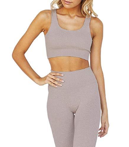 CuteRose Women's Removable Pads Stripes Yoga Sports Bra Leggings 2 Pieces Set Khaki XS Juicy Couture Velour Set