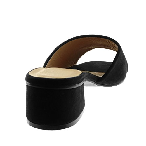 Angkorly Chaussure Mode Sandale Mule Slip-On Femme Talon Haut Bloc 5 cm Noir