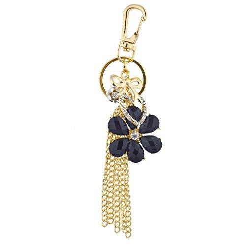 n Schwarz Blume Kette Quaste Cluster Schlüsselanhänger Tasche Charme (Schmuck-hardware)