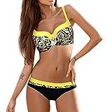 IZHH Damen-Push-Up-Bikini, Gepolsterter Push-Up-BH-Bikini-Set Badeanzug Badeanzug Bademode Beachwear Printed Sling Bikini Bademode Badeanzug Damen Bandeau Bikini Micro Bikini(Gelb,XXL)