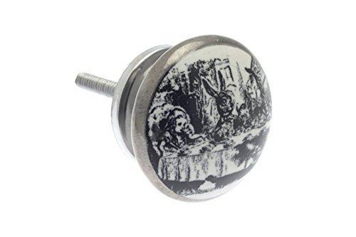 'Mad Hatter's Tee Party' Schäbige Schicke Weinlese Stil Keramik Küchenschrank Knauf Antik Silber Ausführung (Original Mad Hatter)