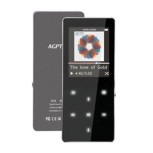 """AGPtek B05- Metal Reproductor MP3 8 GB pantalla de 1,8"""" con radio y grabadora de voz, Soporta hasta 64 GB tarjeta Micro SD, Negro"""
