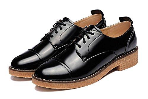 Mme Printemps Et L'automne Des Chaussures Occasionnels Femmes Célibataires Chaussures De Soirée Avec Des Chaussures À Lacets En Cuir Noir