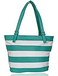 Lorna Premium PU Leather Girl's/Women's Hand Bag Green & White