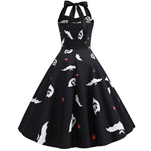 GOKOMO Halloween Neckholder Kleid Damen Elegant Vintage 50er 1950er Retro Rockabilly Kleider Petticoat Faltenrock Cocktail Festliche(Schwarz-d,Small) -
