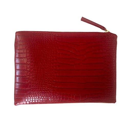 NIGEDU Frauen Kupplungen Krokodil-Korn PU-Leder Umschlag Clutch Rot