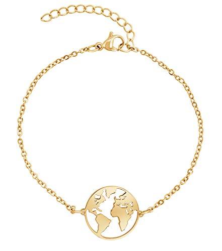 Nuoli® Armband Weltkugel Gold (16+4 cm) Welt Armkette für Frauen
