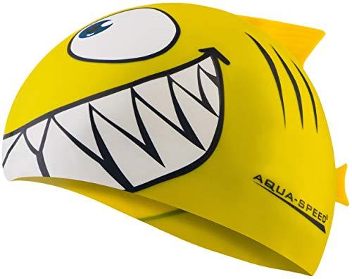 Aquaspeed Shark Kinder Bademütze Hai Badekappe, Modell [A]:Shark/gelb 18