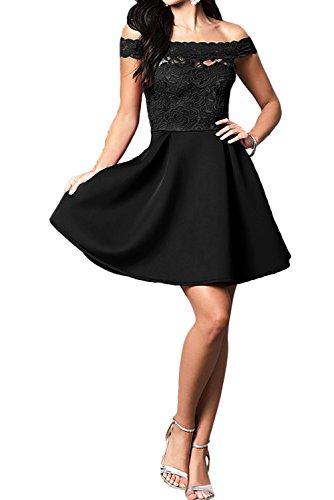 Ivydressing Damen Kurz A-Linie Abendkleider U-Ausschnitt Spitze Ballkleid Partykleider Schwarz