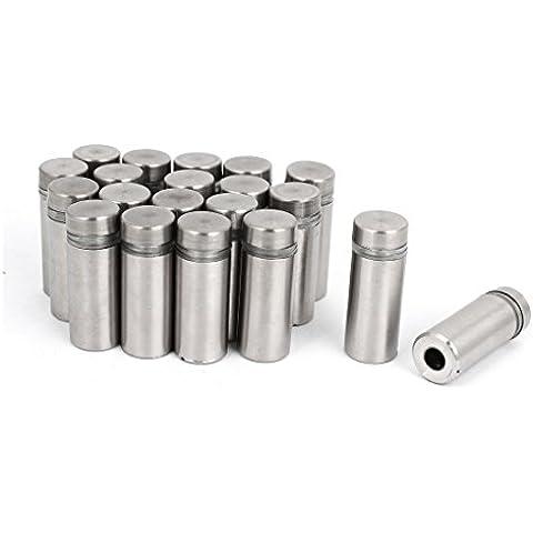 20 Piezas 12 x 30mm Soporte De Pared Tono Plateado Enfrentamiento Rosca Clavos para vidrio