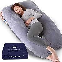 DIAMOND NIGHT Pregnancy Pillow, U-Shaped Full Body Maternity Pillow, Grey