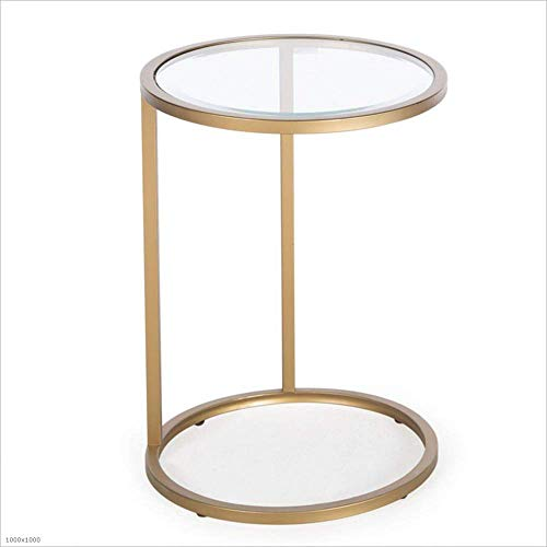 Axdwfd Table d'appoint en verre trempé + plateau en métal Canapé Salon Chambre Snack Table 43 * 60cm (or)
