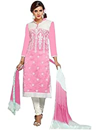 Dharmnandan Fashion Pink Chanderi& Cotton Dress material