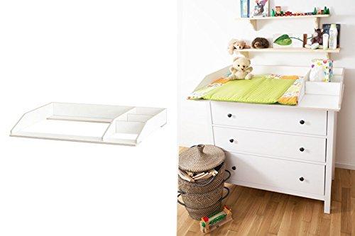 Wickelaufsatz mit Fach für Ikea Hemnes Kommode extra stabiles Holz (keine Spanplatte) Wand- u. Kommodenbefestigung runde Ecken Kippschutz Wickelauflagen Breite 77 (passgenau) und 80 cm -