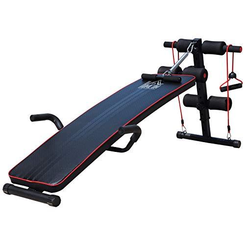 HOMCOM Banco de Abdominales Altura Ajustable Banco de Musculación Multifuncional para Fitness Entrenamiento...