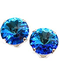 pewterhooter 925 Sterling Silver stud earrings expertly made with sparkling Bermuda Blue crystal from SWAROVSKI® London box.