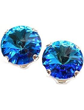 Lagerräumung. 925-Sterling Ohrstecker handgefertigt mit funkelnden Bermuda Blue Kristall aus SWAROVSKI®.