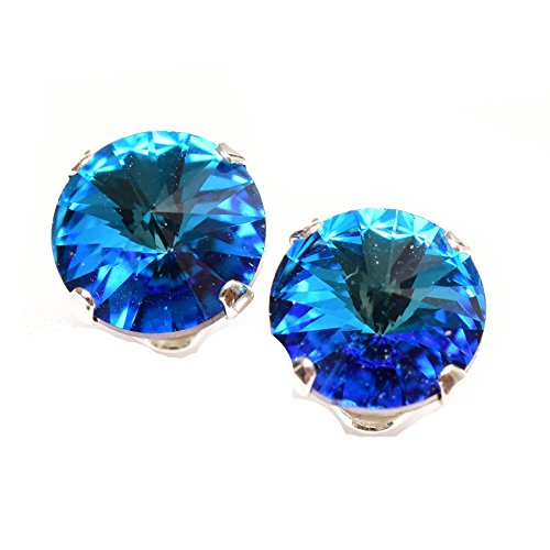 Sterling Silver stud earrings expertly made with sparkling Bermuda Blue crystal from SWAROVSKI® for Women.