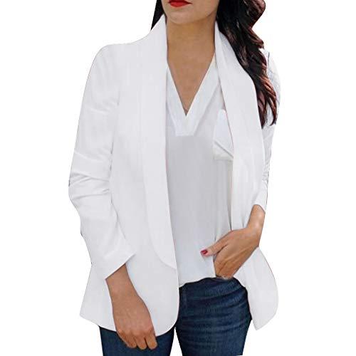 Herbst und Winterpullover Sweatshirt von Hemed Frauen Langarm Blazer Open Front Cardigan Anzug Jacke Arbeit Büro Strickblazer Weiß S -