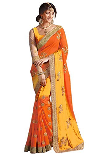 Saree Fancy (Try n Get's Yellow and Orange Color Georgette Fancy Designer Saree)